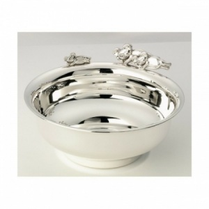 Teddy Bear Porridge Bowl Hallmarked Sterling Silver (can be personalised)