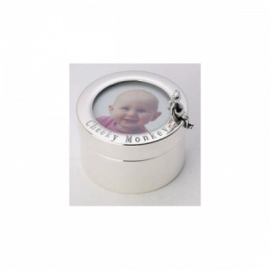 Cheeky Monkey First Curl, Tooth Photo Hallmarked Sterling Silver Box (can be personalised)