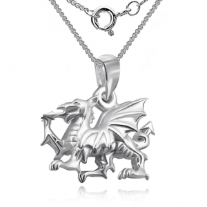 Children's Welsh Dragon Sterling Silver Necklace