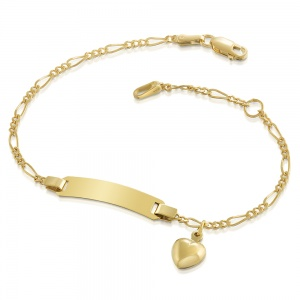 Childs Heart Identity Bracelet, 9ct Gold, Personalised