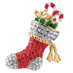 Christmas Stocking Brooch with Austrian Crystals, Gold Plated