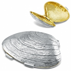 Clam Shell Pill Box, Sterling Silver, Hallmarked