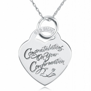 Congraulations on your Confirmation Heart Necklace/Pendant - 925 Silver Personalised