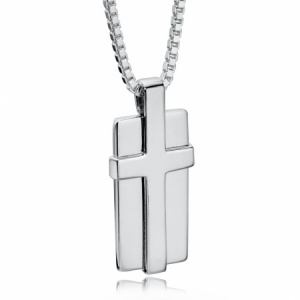 Dog Tag Cross Necklace, Personalised / Engraved by Fred Bennett