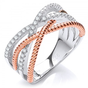 Cubic Zirconia Crossover Silver & Rose Gold Ladies Ring - Sizes I - R