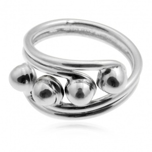 Curved Crossover With Quad Beads Ring Sterling Silver