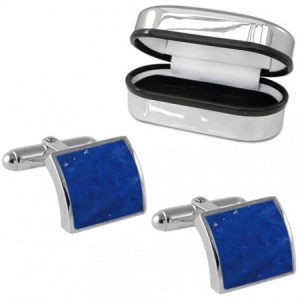 Curved Lapis Lazuli & Sterling Silver Cufflinks (can be personalised)