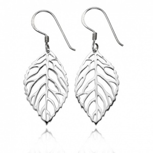 Cut Out Leaf Sterling Silver Drop Earrings