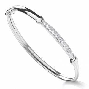 Cubic Zirconia Baby Bangle, Sterling Silver, Hinged