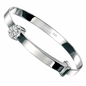 Daisy Baby Bangle, Personalised, D for Diamond, Sterling Silver