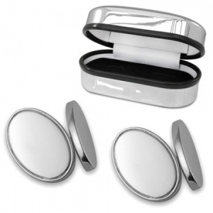 Double Sided Oval Sterling Silver Cufflinks (can be personalised)