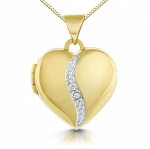 Diamond Heart Locket, 9ct Yellow Gold, Personalised/Engraved