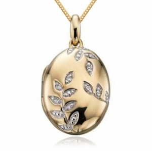 Diamond Leaf Pattern Gold Locket, Personalised / Engraved.