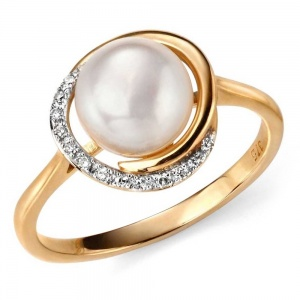 Ladies Diamond & Freshwater Pearl Ring, 9ct Yellow Gold