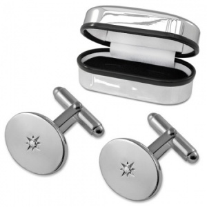 Diamond Oval Sterling Silver Cufflinks (can be personalised)