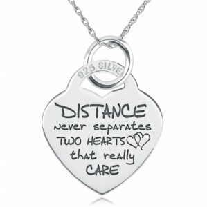 Distance Never Separates Two Hearts Necklace, Personalised, Sterling Silver