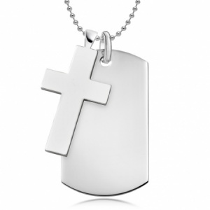 Dog Tag & Chunky Cross Sterling Silver (can be personalised)