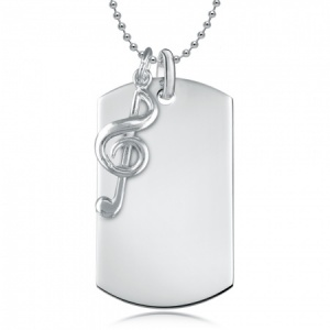 Dog Tag with Treble Clef - 925 Sterling Silver Personalised/Engraved