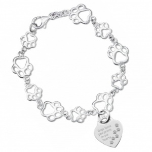 Dogs Leave Paw Prints Bracelet, 925 Sterling Silver (can be personalised)