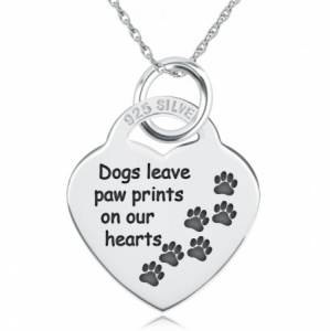 Dogs Leave Paw Prints on our Heart Necklace, Personalised, Sterling Silver