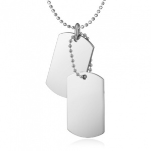 Double Stainless Steel Dog Tags Offset (can be personalised)