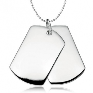 Men's Double Dog Tags, Personalised, Sterling Silver, Hallmarked