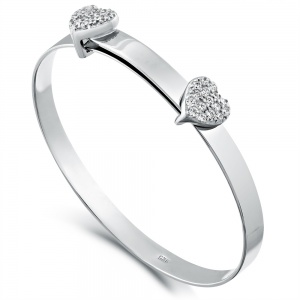 Cubic Zirconia Double Heart Baby Bangle, Sterling Silver (can be personalised)