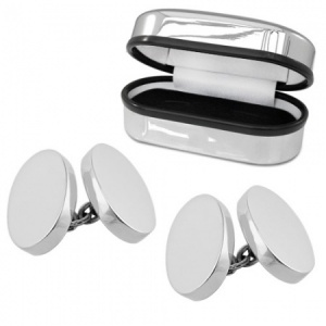 Heavy Weight Double Sided Oval Hallmarked Sterling Silver Cufflinks (can be personalised)
