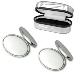 Double Sided Oval Sterling Silver Plated Cufflinks (can be personalised)