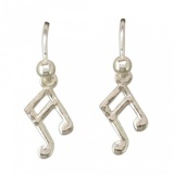 Music Note Sterling Silver Drop Earrings