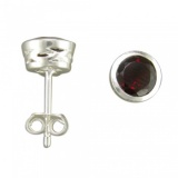 Garnet Stud Sterling Silver Earrings, with Galleried Edge