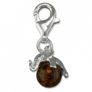 Elephant Cognac Amber & Sterling Silver Charm