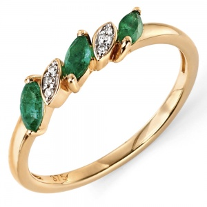 Ladies Emerald & Diamond Ring, 9ct Yellow Gold