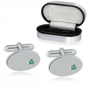 Real Emerald Cufflinks, Sterling Silver, Personalised