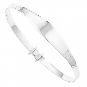 Engraved Pattern Childs ID Bangle, 925 Silver, Personalised