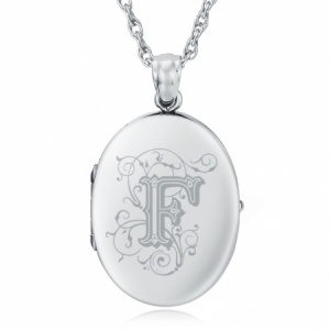 Initial/Letter F Sterling Silver 2 Photo Locket (can be personalised)