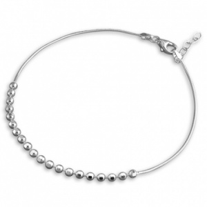 Sterling Silver Anklet with Snake Chain and Facetted Beads