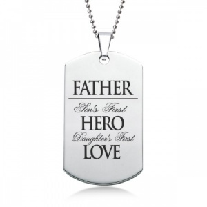 Father, Son & Daughters First Hero & Love Dog Tag - Stainless Steel Personalised