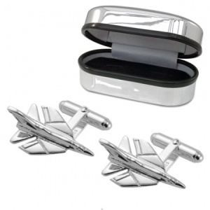 Fighter Jet Cufflinks, 925 Sterling Silver, Can be Personalised