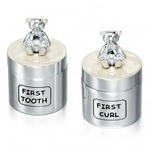First Tooth & Curl Boxes, Personalised, D for Diamond, Silver Plated (Set of 2)