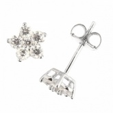 Flower White Cubic Zirconia & Sterling Silver Stud Earrings