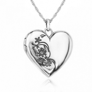 Flower Heart Shaped Locket, 925 Sterling Silver (can be personalised)