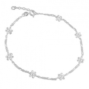 Flowers Daisy Sterling Silver Anklet