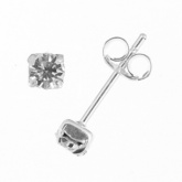 Square Claw Set Cubic Zirconia & Sterling Silver Stud Earrings