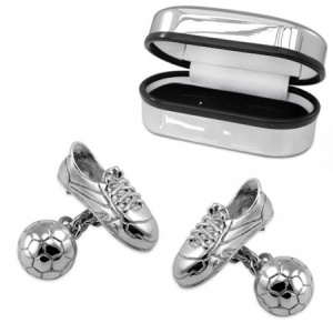 Football Ball & Boot Sterling Silver Cufflinks (can be personalised)