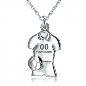 Boys Football / Soccer Necklace, Personalised, Sterling Silver