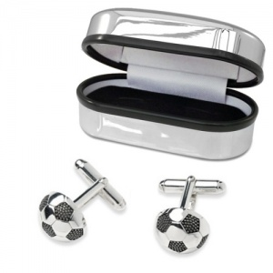 Football Cufflinks, Sterling Silver, with Chrome Box, Personalised