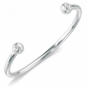 Boys Football Bangle, Sterling Silver with Diamond, by D for Diamond