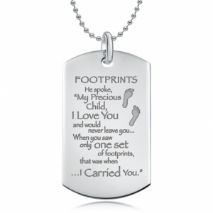 Footprints in the Sand Sterling Silver Dog Tag Necklace (can be personalised)