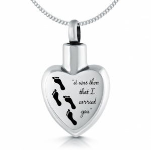 Footprints in the Sand Ashes Necklace, Personalised